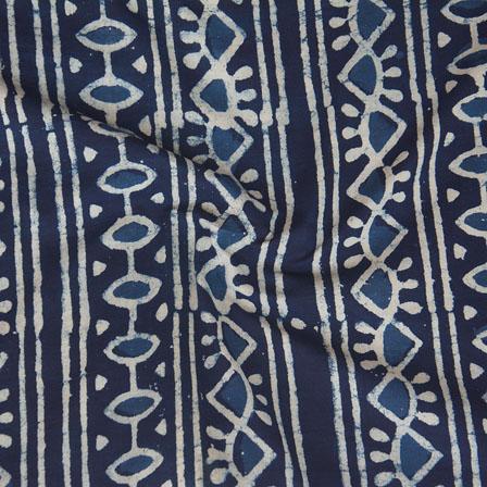Indigo White Block Print Cotton Fabric-14781