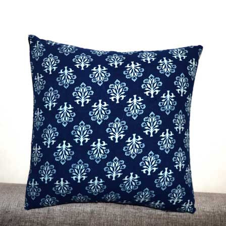 Indigo and White Traditional Indian Cotton Cushion Cover