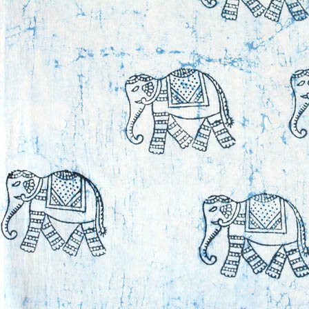 Indigo blue and white elephant printed block print fabric-4586