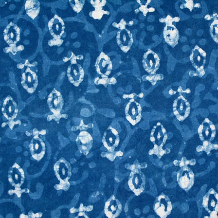 Indigo blue and white leaf pattern cotton fabric-4584
