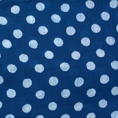 Indigo blue and white polka printed cotton block print fabric-4572