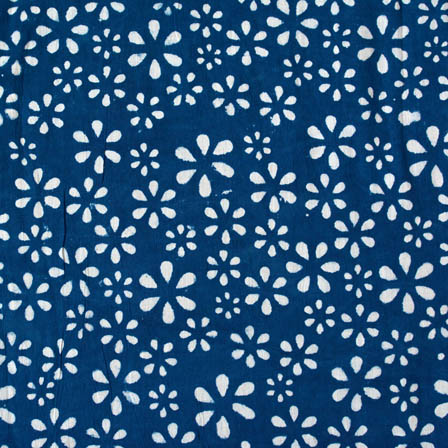 Indigo blue and white star printed cotton block print fabric-4578