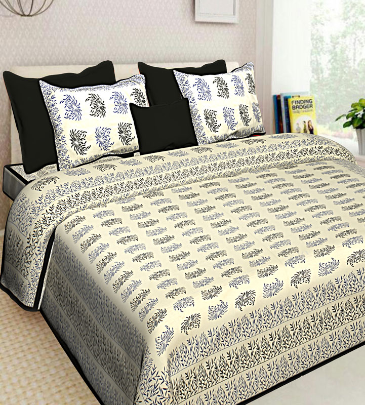 Ivory Black Cotton Jaipuri Bedsheet-650
