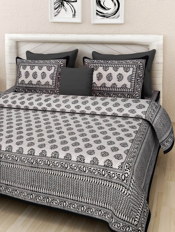 Ivory Black Cotton Jaipuri Bedsheet-666