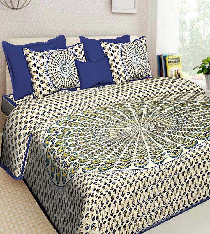 Ivory Blue Cotton Jaipuri Bedsheet-652