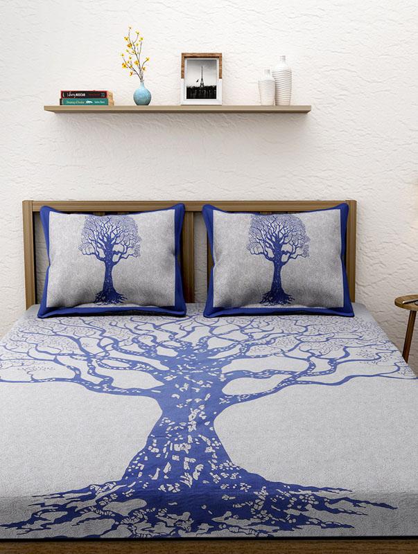 Ivory Blue Cotton Jaipuri Bedsheet-661