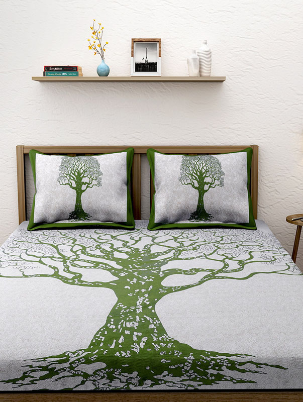 Ivory Green Cotton Jaipuri Bedsheet-658