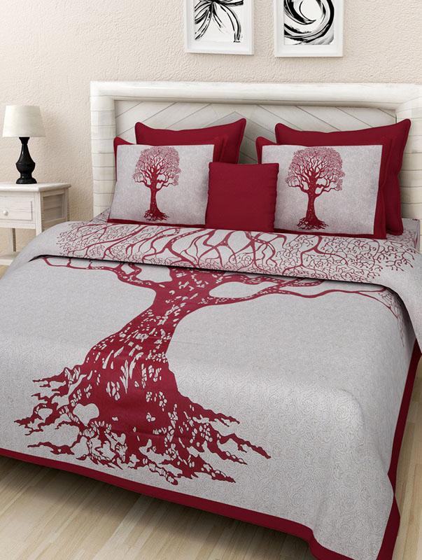 Ivory Maroon Cotton Jaipuri Bedsheet-659