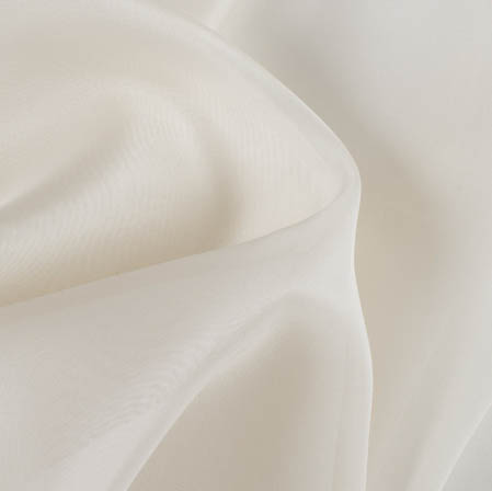 Ivory Plain Organza Silk Fabric-51786