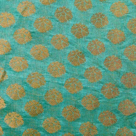 Jade Green and Golden Flower Brocade Silk Fabric-1056