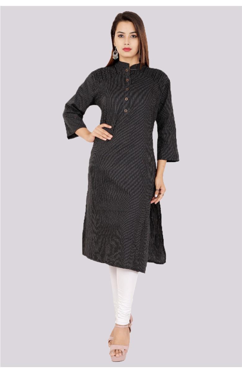Black-White Kantha cotton fancy doriya straight kurta-k79-33600