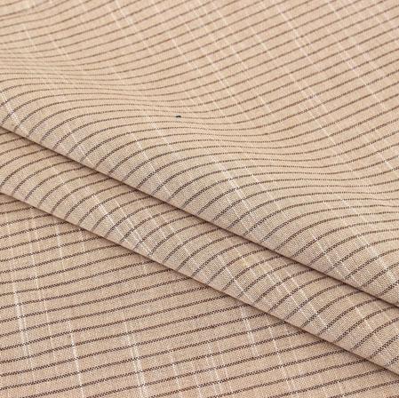 Khaki Brown Stripe Handloom Cotton Fabric-40920