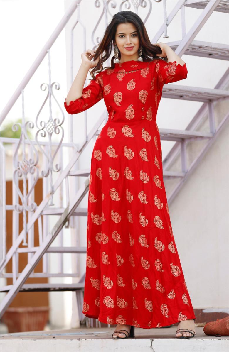 Red-Golden Kurta with deigner Back neck-k83-33604