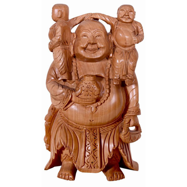 Laughing Buddha carrying Two more Happy Buddha