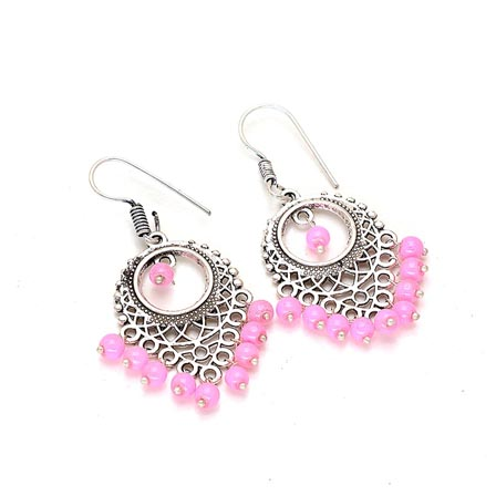Leaf Pattern Silver Drop Earring with Pink Pearls for Women