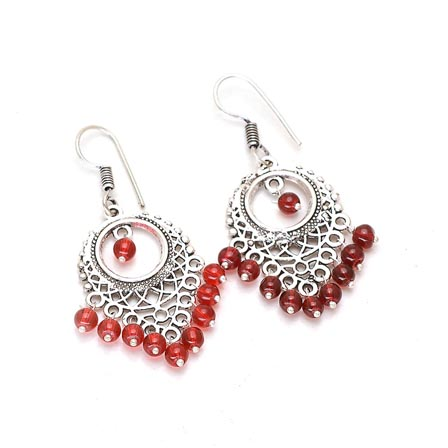 Leaf Pattern Silver Drop Earring with light Red Pearls for Women