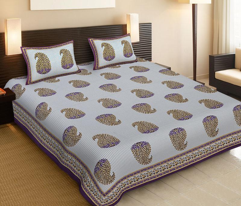 Lemon Purple Cotton Jaipuri Bedsheet-514