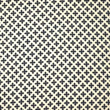 Light Beige And Black Sanganeri Print Cotton Fabric By The Yard