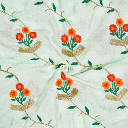 Light Blue Orange and Green Embroidery Silk Chinon Fabric-18542