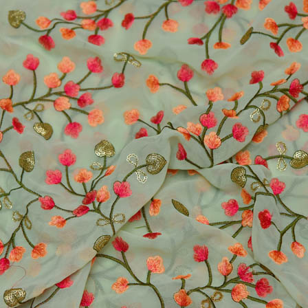Light Blue Poly Georgette Base Fabric With Pink Floral Embroidery-60032