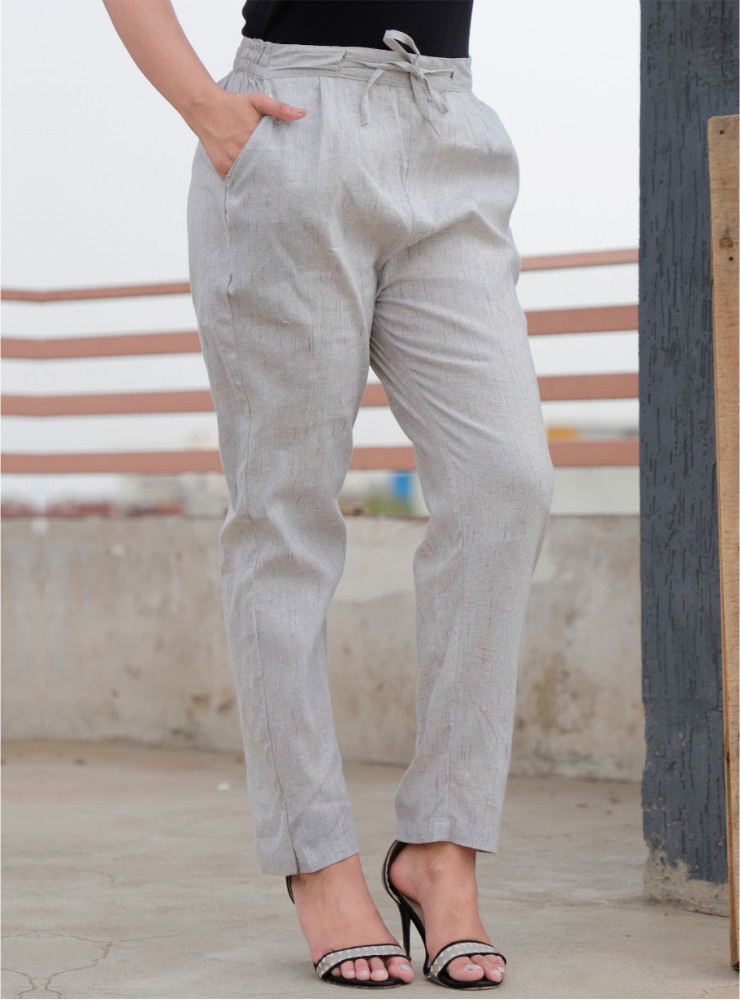 Light Gray Cotton Khadi Narrow Pant-33475