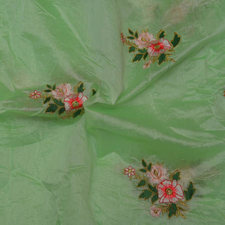 Light Green Chanderi Silk Fabric Pink Flower Embroidery-60006