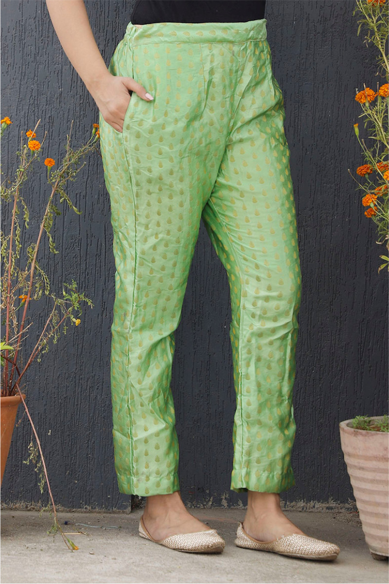 Light Green Golden Brocade Silk Ankle Women Pant-34197