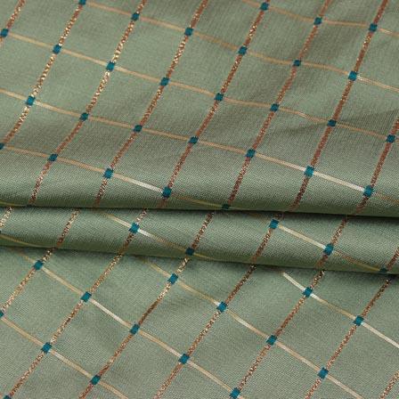 Light Green Golden Checks Zari Brocade Silk Fabric-9297
