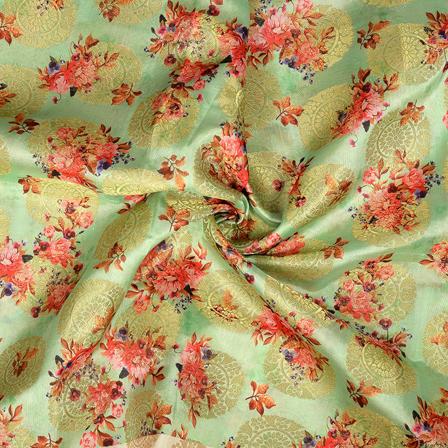 Light Green-Golden and Pink Flower Digital Banarasi Silk Fabric-24061