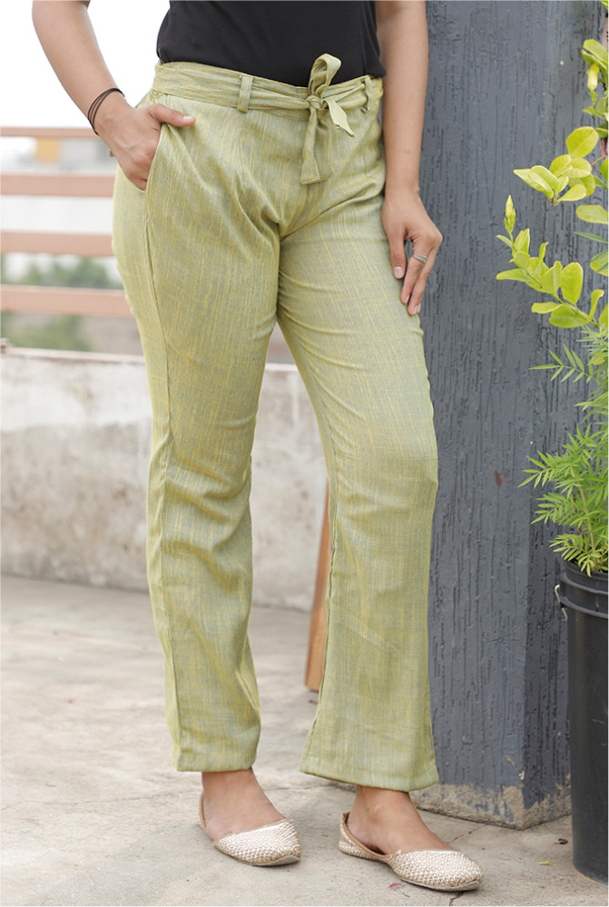 Light Green Handloom Cotton 2 Tone Narrow Pant with Belt-33906