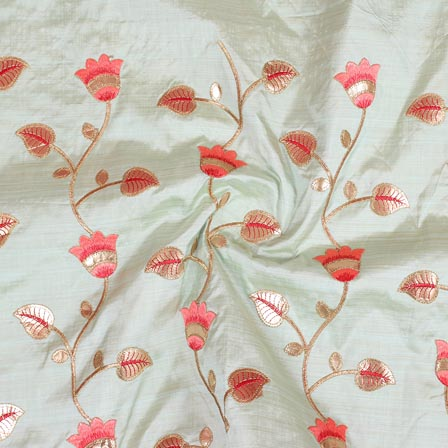 Light Green Pink and Golden Jalbari Embroidery Silk Fabric-61014