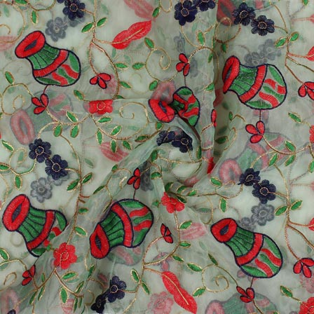 Light Green Red Embroidery Organza Silk Fabric-51634