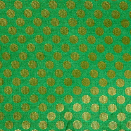 Light Green and Dark Brown Bold Dotted Brocade Silk Fabric-1082