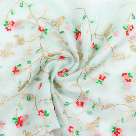 Light Green and Golden Flower Organza Embroidery Fabric-51449