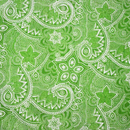 Buy Light Green And White Stars With Flowers Pattern