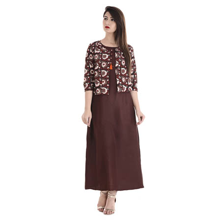 Light Maroon 3/4 Sleeve Cotton Jacket With Cut Sleeve Rayon Kurti-3102