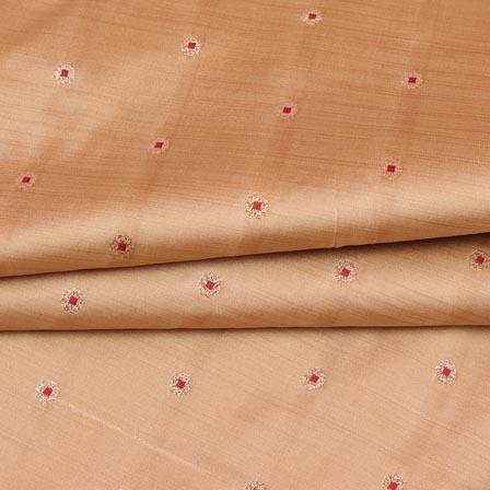 Light Peach Pink and Golden Zari Dot Brocade Silk Fabric-9255