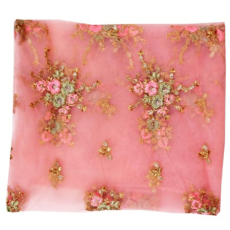 Light Pink Cyan Floral Embroidery Net Fabric-60990