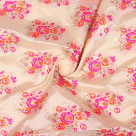 Light Pink Orange Floral Banarasi Silk Fabric-9364