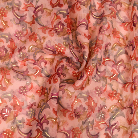 Light Pink-Purple and Golden Floral Design  Silk Organza Fabric-50023