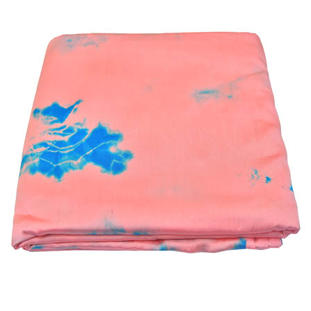 Light Pink and Blue Batik Satin Fabric-32031