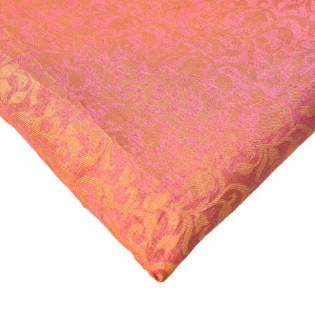 Light Pink and Golden Floral Design Brocade Silk Fabric-8219