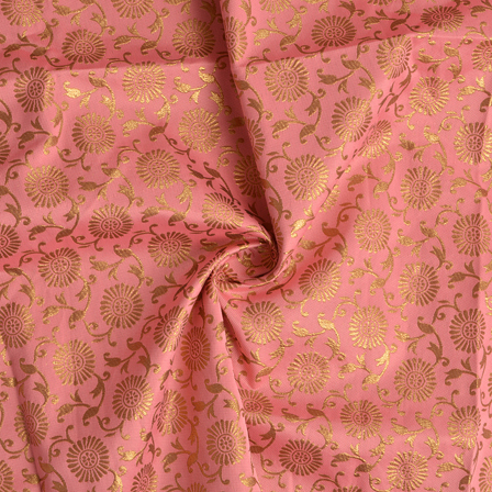Light Pink and Golden Floral Pattern Silk Brocade Fabric-8382