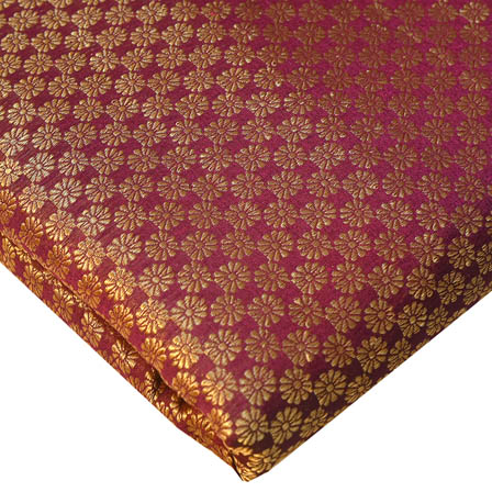 Maroon and Golden Small Flower Pattern Brocade Silk Fabric-8237