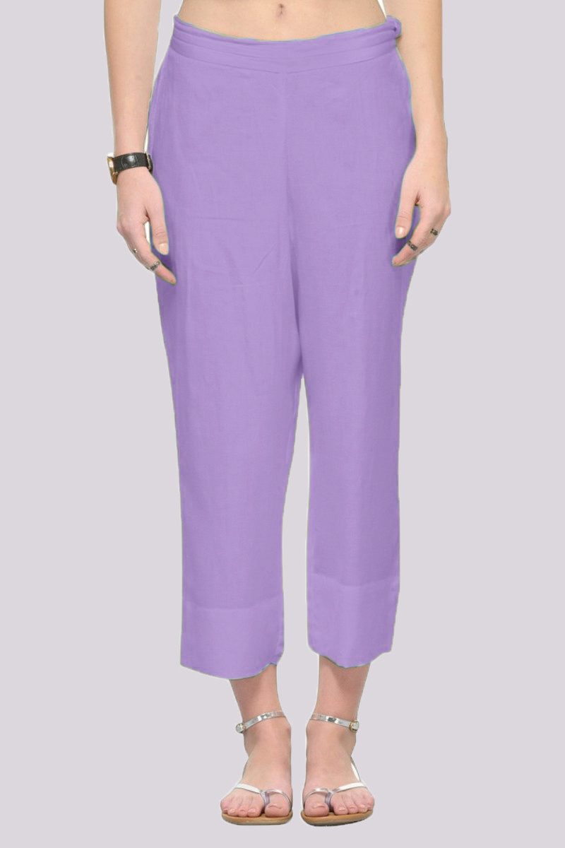 Light Purple Rayon Ankle Length Pant-33695