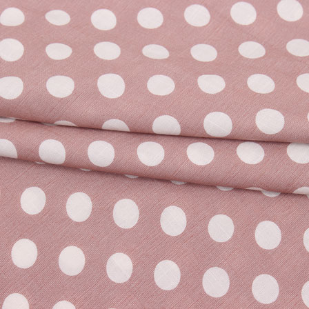 Light Wine White Polka Print Rayon Fabric-15282
