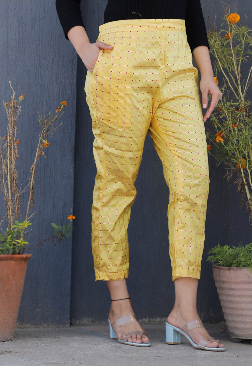 Light Yellow White Brocade Silk Ankle Women Check Pant-34325