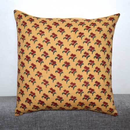 Light Yellow and Burgundy Block Print Cotton Cushion Cover