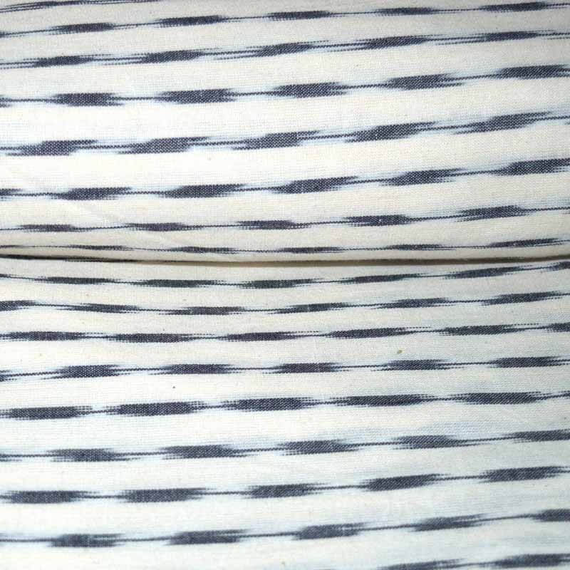 Light white and Black Ikat Print Fabric by the Yard