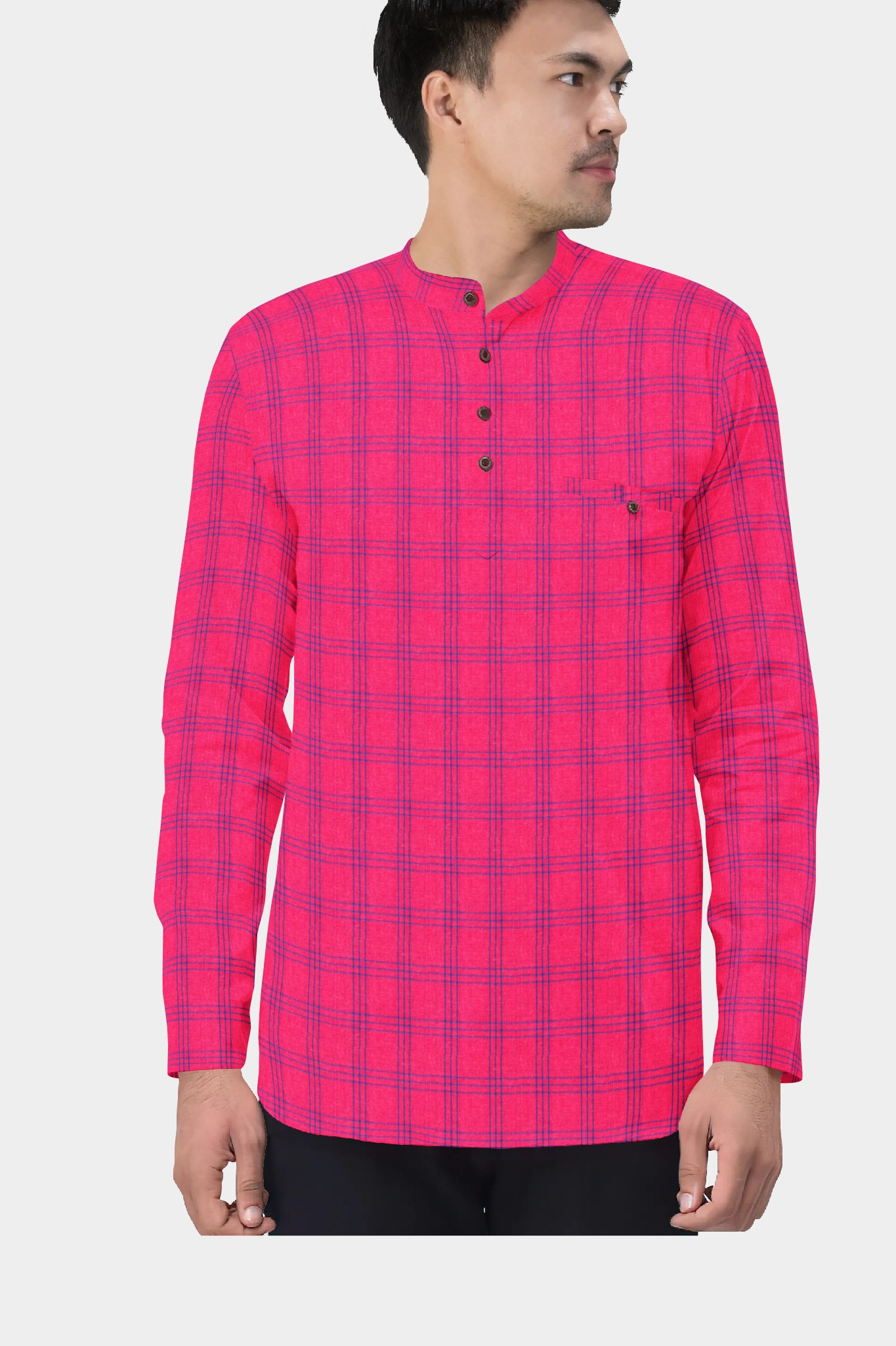 Magenta Pink Blue Cotton Check Short Kurta-35428